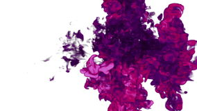 Rosy Ink with alpha mask in water move in slow motion. VFX Cloud of Ink or smoke for transitions, background, overlay. And effects. For alpha channel use alpha stock video footage