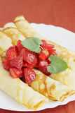 Rosy pancakes Stock Images