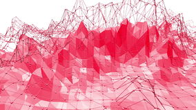 Rosy or pink low poly oscillating surface as futuristic relief. Polygonal mosaic red vibrating environment or pulsating stock video footage