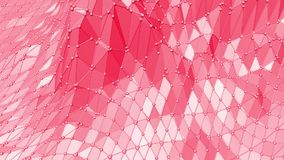 Rosy or pink low poly oscillating surface as transforming environment. Red polygonal geometric vibrating environment or stock video footage