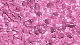 Rosy or pink low poly surface as fractal transforming shining background. Polygonal digital mosaic red environment or stock footage