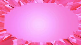Rosy or pink low poly waving surface as transforming environment. Red polygonal geometric vibrating environment or stock video footage