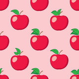 Rosy seamless background with red apples - vector pattern Royalty Free Stock Photos