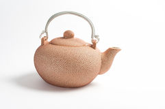 Rosy set for tea. Rosy ceramic tea pot on white background Stock Images