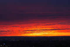 Rosy sky and clouds before sunrise stock photography