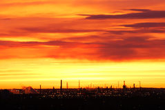 Rosy sky and clouds at sunrise. Beautiful rosy clouds and sky at sunrise moment, city edmonton, alberta, canada Royalty Free Stock Photo