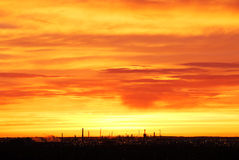 Rosy sky and clouds at sunrise royalty free stock photography