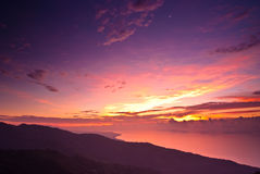 Rosy sunrise with dramatic landscape Royalty Free Stock Photography