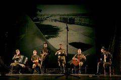 Rosyjscy żołnierze bawić się postój w syntezie muzykalna orkiestra Fotografia Stock
