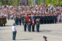 Rosyjscy żołnierze maszerują przy paradą na rocznym zwycięstwo dniu Zdjęcia Stock