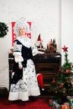 Rosyjscy Bożenarodzeniowi charaktery: Ded Moroz Santa i Snegurochka śniegu dziewczyna zdjęcia stock