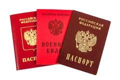 Rosyjscy paszporty i wojskowego ID zdjęcie royalty free