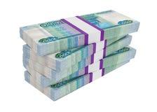 Rosyjscy ruble rachunek paczek na stercie Obrazy Royalty Free