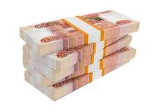 Rosyjscy ruble rachunek paczek na stercie Obrazy Stock