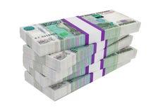 Rosyjscy ruble rachunek paczek na stercie Fotografia Royalty Free
