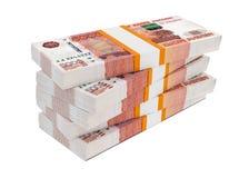 Rosyjscy ruble rachunek paczek na stercie Zdjęcia Royalty Free