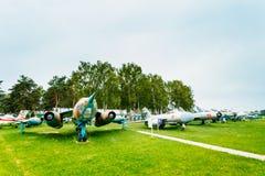 Rosyjscy sowieci samolotów stojaki w lotnictwa muzeum Zdjęcia Stock