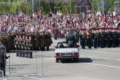 Rosyjska ceremonia otwarcie militarna parada na rocznym zwycięzcy Obrazy Royalty Free