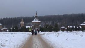 Rosyjska drewniana architektura Sergiyev Posada Gremyachiy klucz Święty źródło Mknąca data 26 2017 Listopad panorama zbiory