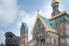 Rosyjska kaplica przy Mathildenhoehe, Darmstadt, Niemcy obrazy stock