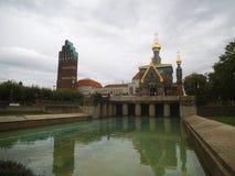 Rosyjska kaplica w Darmstadt na chmurnym dniu zdjęcie stock