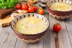 Rosyjska kuchnia: mięsna polewka z kiszonymi ogórkami Fotografia Stock