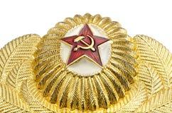 Rosyjska militarna złocista odznaka z czerwoną gwiazdą Obrazy Royalty Free