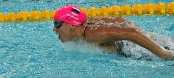 Rosyjska olympian i światowa mistrz żabki pływaczka Yulia Yefimova Zdjęcia Stock