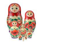Rosyjska rodzina ustawia 8 lalę odizolowywającą Babushka lub Matreshka Fotografia Stock