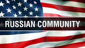 Rosyjska społeczność na usa flagi tle, 3D rendering Zlani stany Ameryka zaznaczają falowanie w wiatrze amerykańska flaga dumna ilustracja wektor