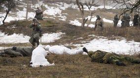 Rosyjska szpieg bitwa z Niemieckimi żołnierzami Obrazy Royalty Free