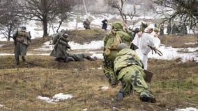 Rosyjska szpieg bitwa z Niemieckimi żołnierzami Zdjęcia Stock