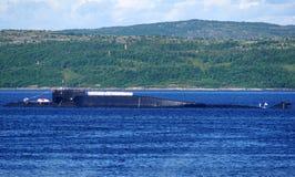 Rosyjska wspomagany energią jądrową pocisk balistyczny łódź podwodna delty klasa w Kola zatoce, Rosja obrazy stock
