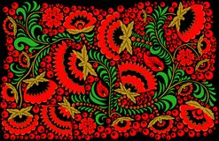 Rosyjski etniczny hohloma stylu tło Obrazy Stock