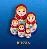 Rosyjski gniazdować lali plakat dla Russia podróży royalty ilustracja