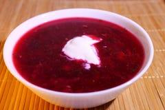 Rosyjski jedzenie: ćwikłowa polewka z kwaśną śmietanką obraz stock