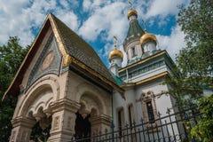 Rosyjski Kościelny ` Sveti Nikolay Mirlikiiski `, Sofia, Bułgaria fotografia royalty free