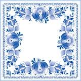 Rosyjski krajowy błękitny kwiecisty wzór Fotografia Royalty Free