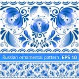 Rosyjski krajowy błękitny kwiecisty wzór Obrazy Royalty Free