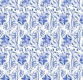 Rosyjski krajowy błękitny kwiecisty wzór Zdjęcie Royalty Free