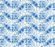 Rosyjski krajowy błękitny kwiecisty wzór Zdjęcia Royalty Free