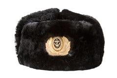 Rosyjski marynarka wojenna oficera zimy kapelusz obrazy royalty free