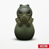 Rosyjski matrioshka w militarnym kostiumu i masce gazowej. Zdjęcie Royalty Free