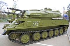 Rosyjski militarny wyposażenia zakończenie W mieście pokojowy czas Przeciwlotniczy system fotografia stock