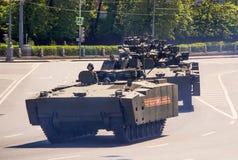 Rosyjski militarny wyposażenie Parada w mieście Obrazy Stock