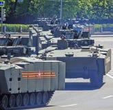 Rosyjski militarny wyposażenie Parada w mieście Obraz Stock