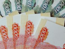 Rosyjski monetarny banknot w wartości nominalnej 5 000 rubli obrazy stock