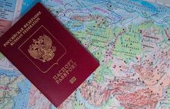 Rosyjski paszport na mapie Rosja Obrazy Royalty Free