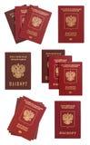 Rosyjski paszportowy kolaż odizolowywający Zdjęcie Royalty Free