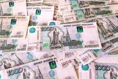 Rosyjski rubel, pieniądze, banknoty w wyznaniach 1000 Rosyjscy pieni?dzy banknoty, t?o, tekstura zdjęcia royalty free